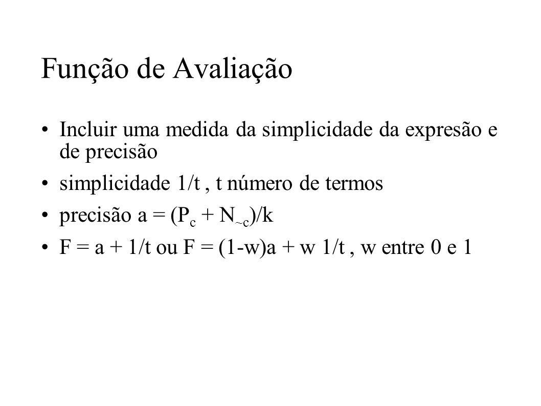 Função de Avaliação Incluir uma medida da simplicidade da expresão e de precisão simplicidade 1/t, t número de termos precisão a = (P c + N ~c )/k F =