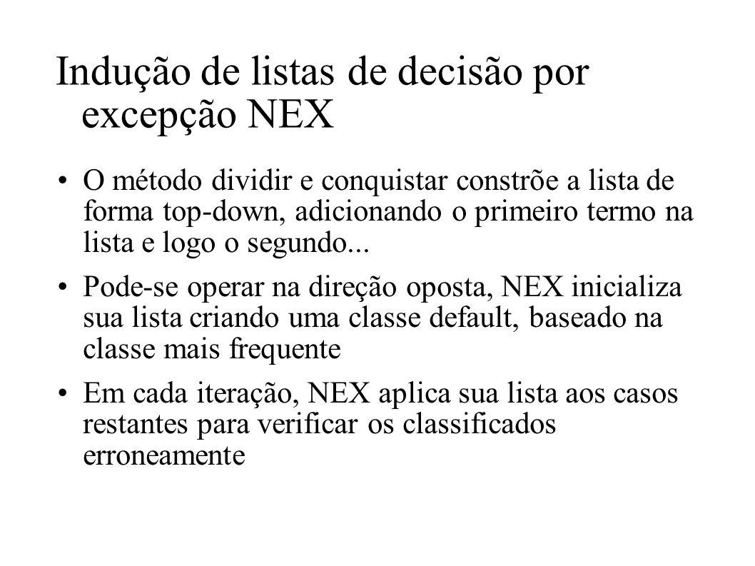 Indução de listas de decisão por excepção NEX O método dividir e conquistar constrõe a lista de forma top-down, adicionando o primeiro termo na lista