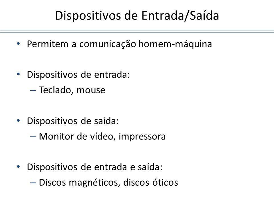 Dispositivos de Entrada/Saída Permitem a comunicação homem-máquina Dispositivos de entrada: – Teclado, mouse Dispositivos de saída: – Monitor de vídeo