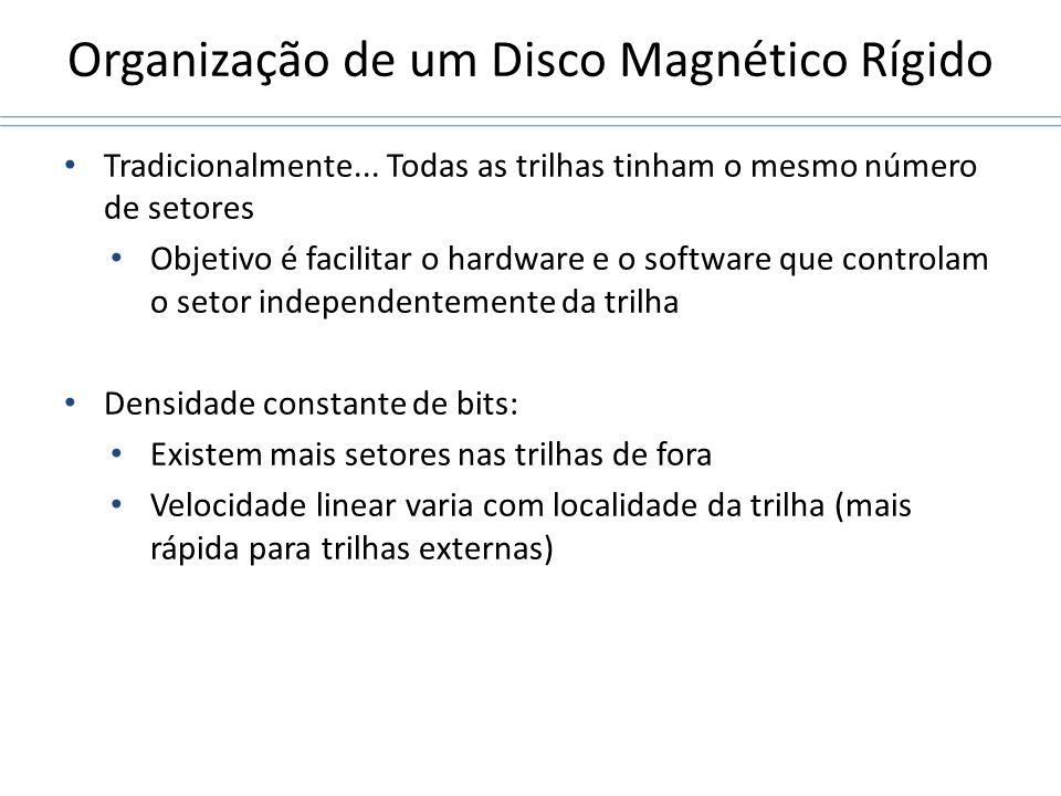 Organização de um Disco Magnético Rígido Tradicionalmente... Todas as trilhas tinham o mesmo número de setores Objetivo é facilitar o hardware e o sof