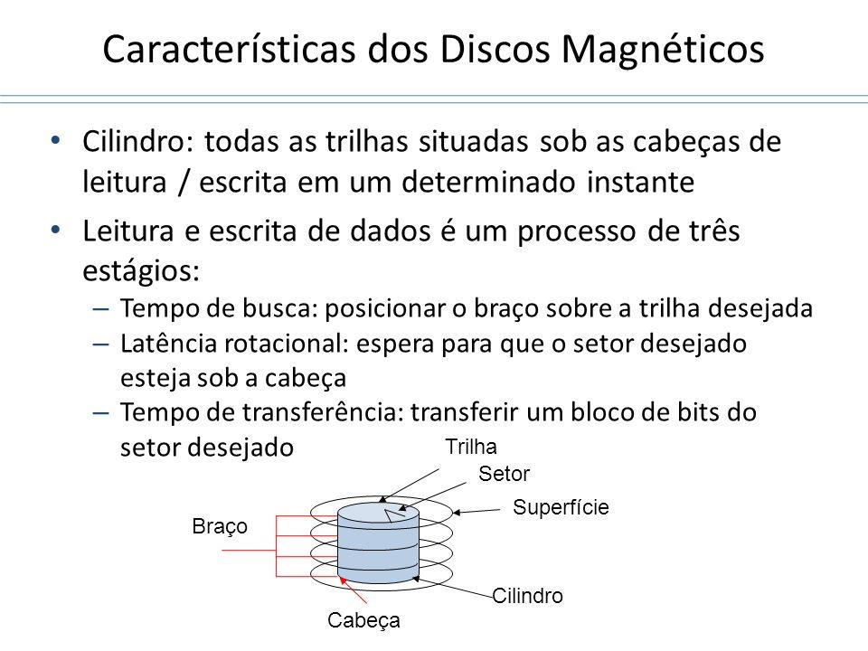Características dos Discos Magnéticos Cilindro: todas as trilhas situadas sob as cabeças de leitura / escrita em um determinado instante Leitura e esc