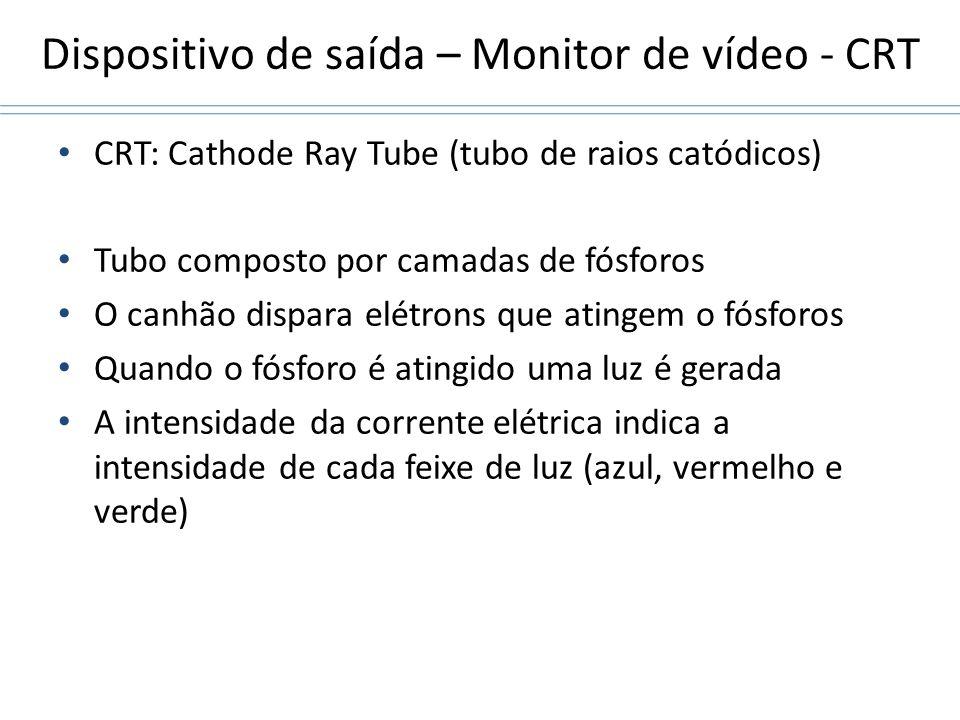 Dispositivo de saída – Monitor de vídeo - CRT CRT: Cathode Ray Tube (tubo de raios catódicos) Tubo composto por camadas de fósforos O canhão dispara e