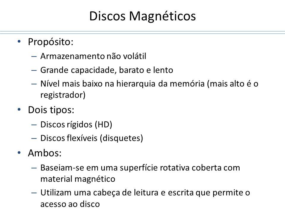 Discos Magnéticos Propósito: – Armazenamento não volátil – Grande capacidade, barato e lento – Nível mais baixo na hierarquia da memória (mais alto é