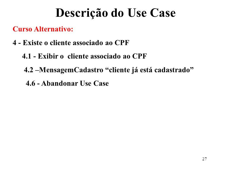 27 Curso Alternativo: 4 - Existe o cliente associado ao CPF 4.1 - Exibir o cliente associado ao CPF 4.2 –MensagemCadastro cliente já está cadastrado 4