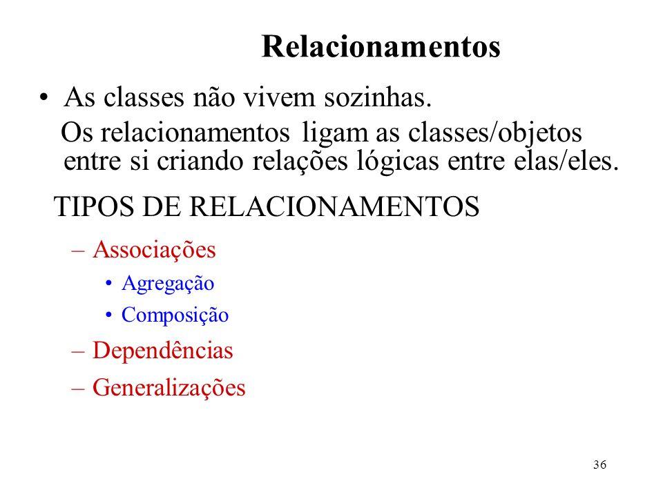 36 Relacionamentos As classes não vivem sozinhas. Os relacionamentos ligam as classes/objetos entre si criando relações lógicas entre elas/eles. TIPOS