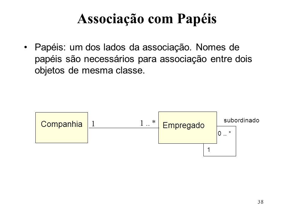 38 Associação com Papéis Papéis: um dos lados da associação. Nomes de papéis são necessários para associação entre dois objetos de mesma classe. Compa