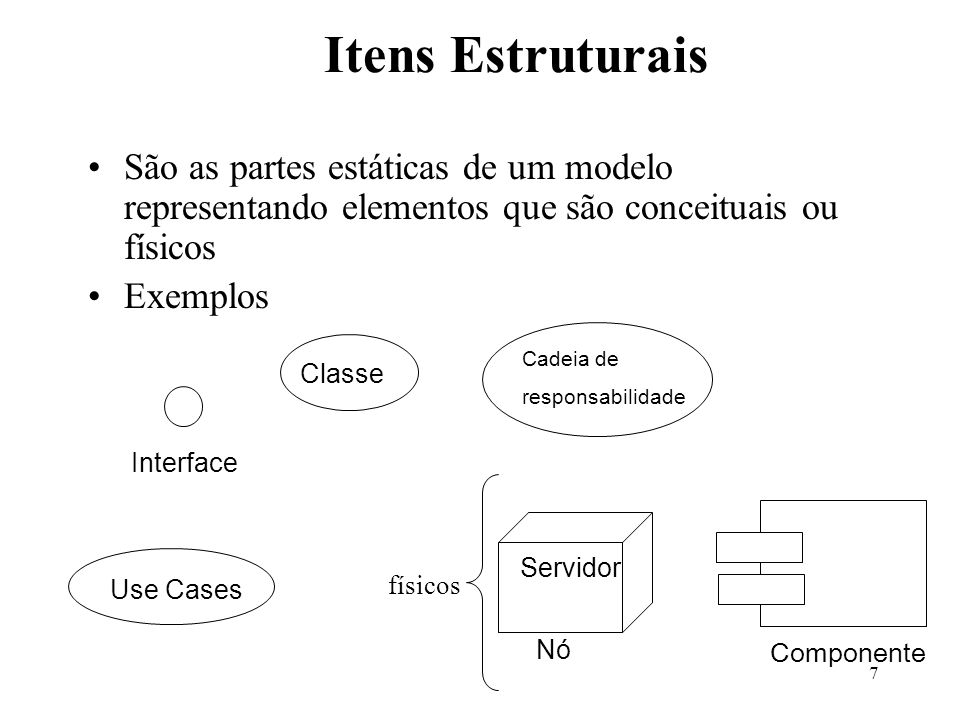 7 Itens Estruturais São as partes estáticas de um modelo representando elementos que são conceituais ou físicos Exemplos Classe Use Cases Cadeia de re