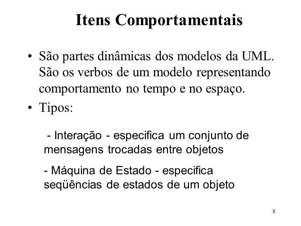 8 São partes dinâmicas dos modelos da UML. São os verbos de um modelo representando comportamento no tempo e no espaço. Tipos: Itens Comportamentais -