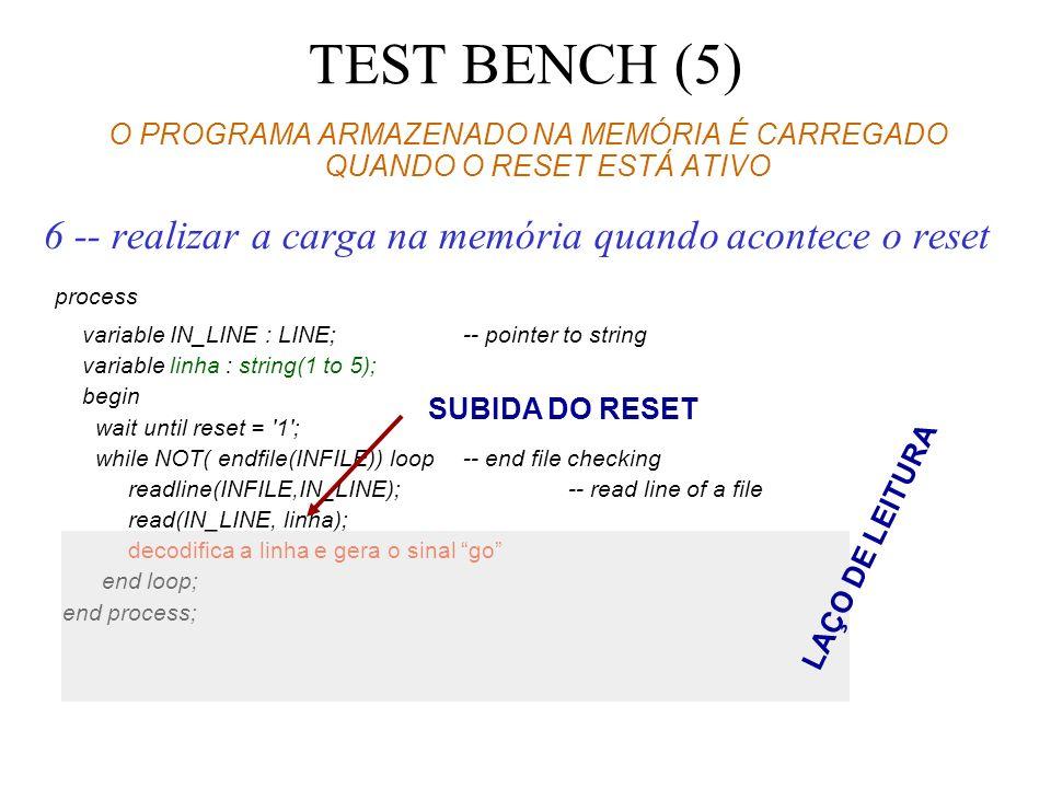 TEST BENCH (5) O PROGRAMA ARMAZENADO NA MEMÓRIA É CARREGADO QUANDO O RESET ESTÁ ATIVO 6 -- realizar a carga na memória quando acontece o reset process