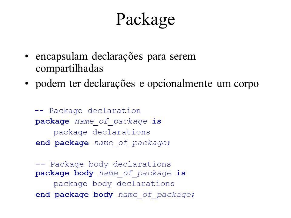 Package encapsulam declarações para serem compartilhadas podem ter declarações e opcionalmente um corpo -- Package declaration package name_of_package is package declarations end package name_of_package; -- Package body declarations package body name_of_package is package body declarations end package body name_of_package;