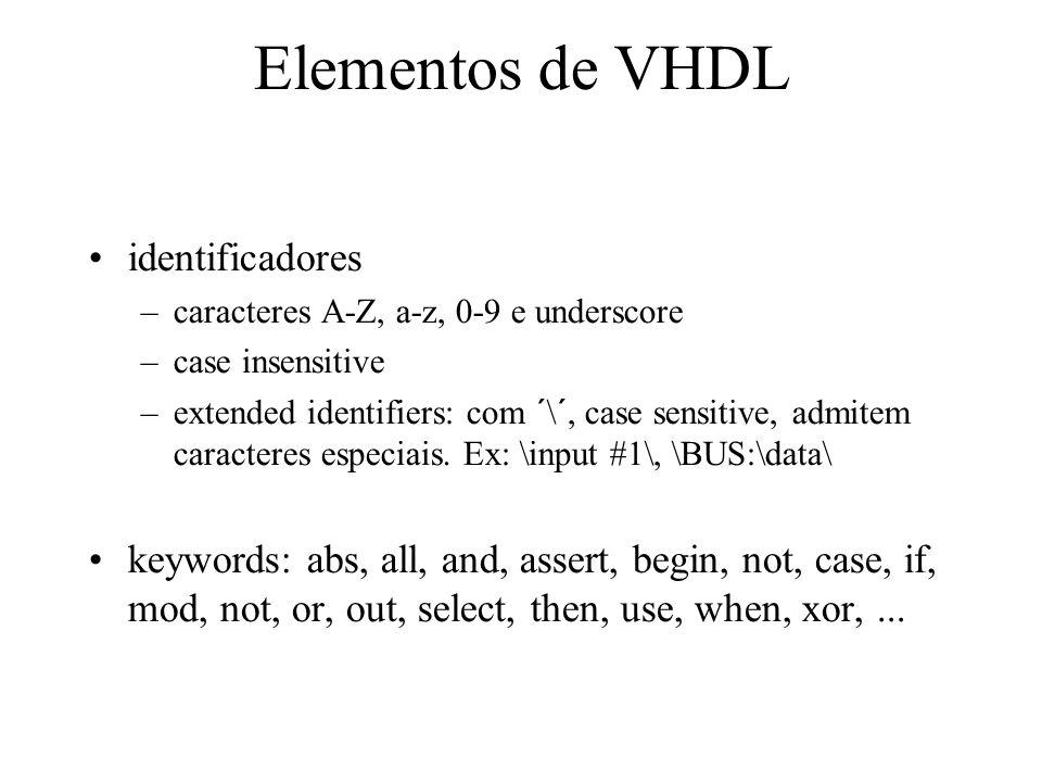 Elementos de VHDL identificadores –caracteres A-Z, a-z, 0-9 e underscore –case insensitive –extended identifiers: com ´\´, case sensitive, admitem caracteres especiais.