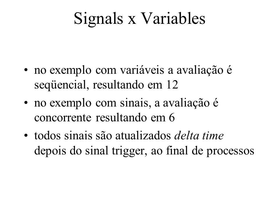 Signals x Variables no exemplo com variáveis a avaliação é seqüencial, resultando em 12 no exemplo com sinais, a avaliação é concorrente resultando em 6 todos sinais são atualizados delta time depois do sinal trigger, ao final de processos
