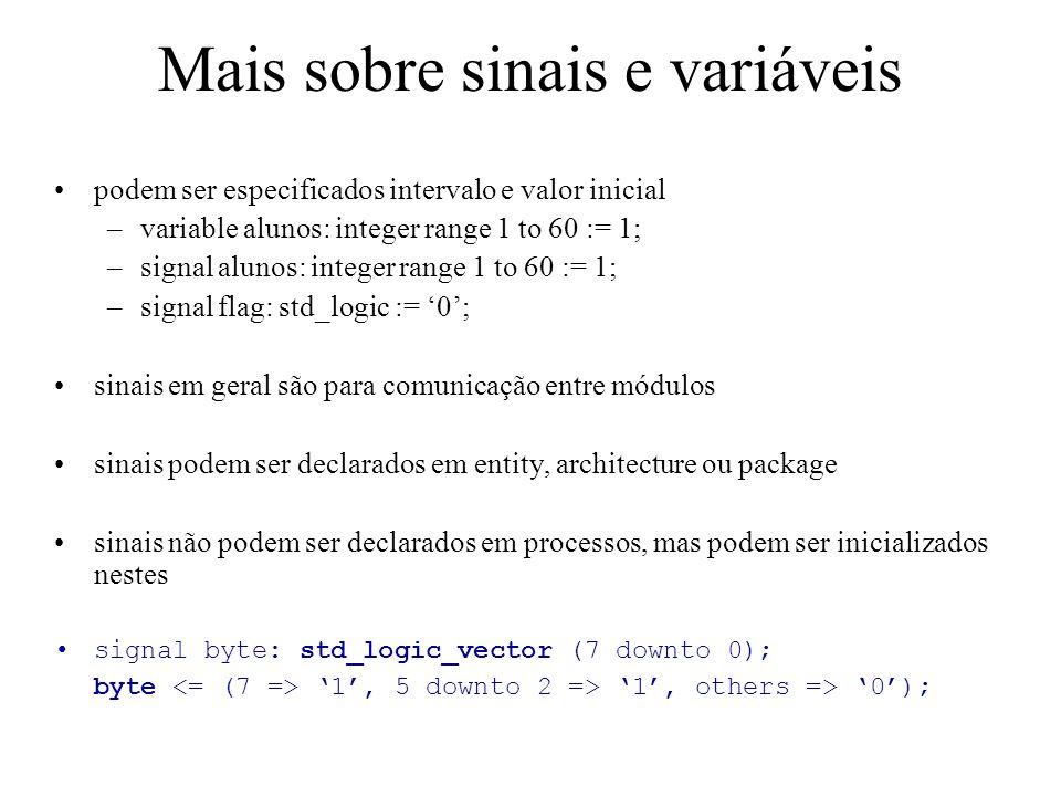 Mais sobre sinais e variáveis podem ser especificados intervalo e valor inicial –variable alunos: integer range 1 to 60 := 1; –signal alunos: integer range 1 to 60 := 1; –signal flag: std_logic := 0; sinais em geral são para comunicação entre módulos sinais podem ser declarados em entity, architecture ou package sinais não podem ser declarados em processos, mas podem ser inicializados nestes signal byte: std_logic_vector (7 downto 0); byte 1, 5 downto 2 => 1, others => 0);