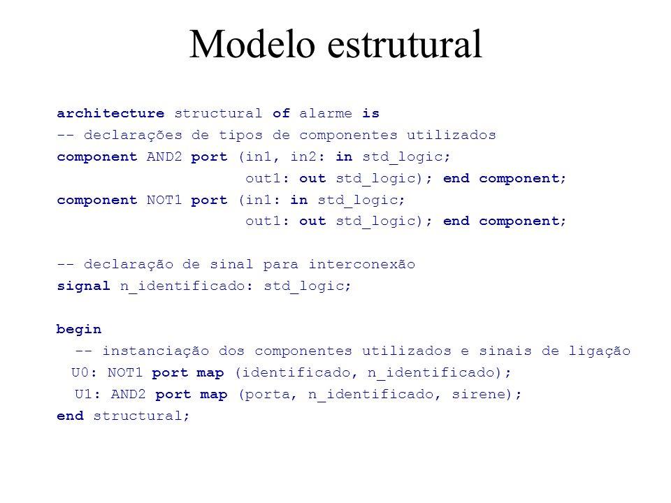 Associação posicional x explícita posicional component AND2 port (in1, in2: in std_logic; out1: out std_logic); end component; U1: AND2 port map (porta, n_identificado, sirene); explícita component AND2 port (in1, in2: in std_logic; out1: out std_logic); end component; U1: AND2 port map (in1 => porta, in2=> n_identificado, out1=> sirene);
