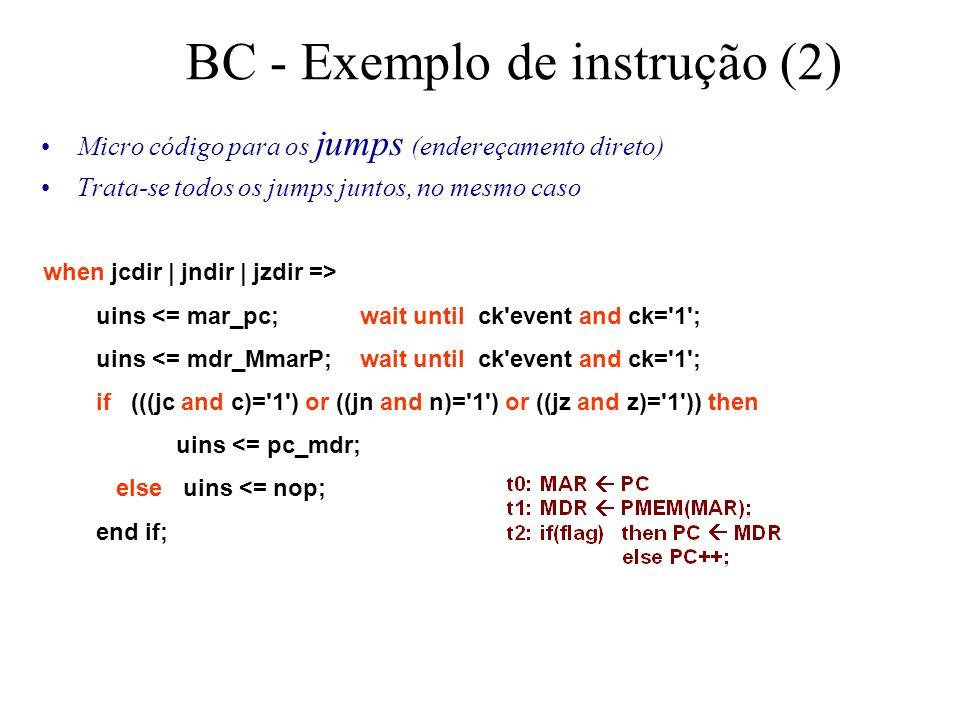 BC - Exemplo de instrução (2) Micro código para os jumps (endereçamento direto) Trata-se todos os jumps juntos, no mesmo caso when jcdir | jndir | jzdir => uins <= mar_pc; wait until ck event and ck= 1 ; uins <= mdr_MmarP; wait until ck event and ck= 1 ; if (((jc and c)= 1 ) or ((jn and n)= 1 ) or ((jz and z)= 1 )) then uins <= pc_mdr; else uins <= nop; end if;