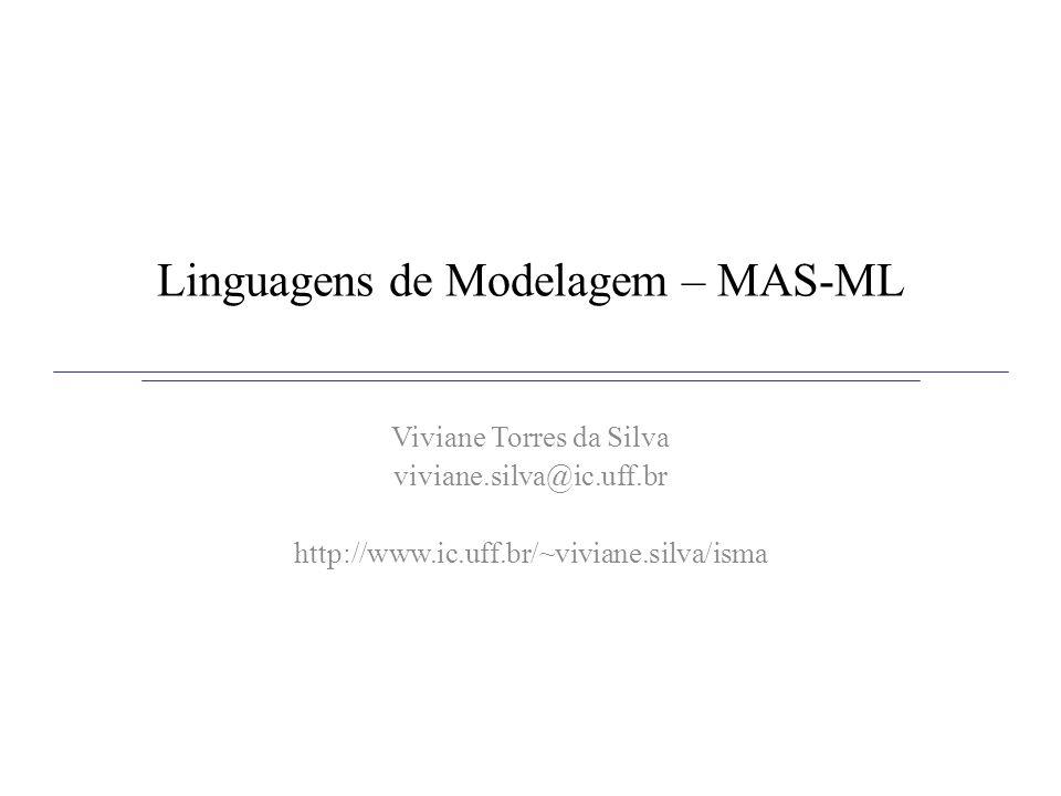 MAS-ML Estende o meta-modelo de UML com base no framework conceitual TAO Meta-modelo MAS-ML estende o meta-modelo de UML –Novos estereótipos –Novas meta-classes