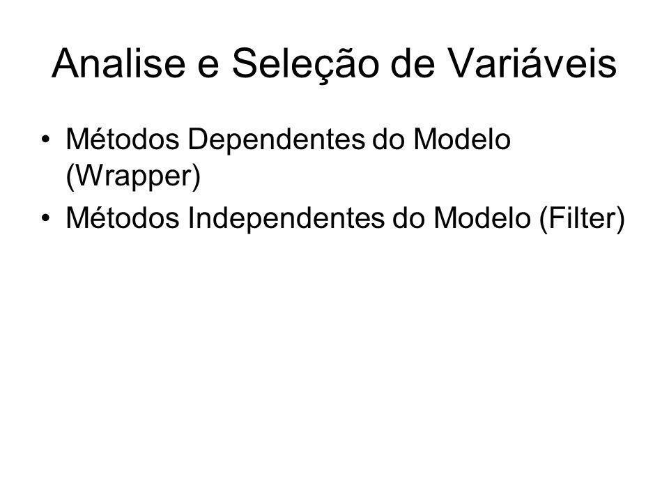 Analise e Seleção de Variáveis Métodos Dependentes do Modelo (Wrapper) Métodos Independentes do Modelo (Filter)