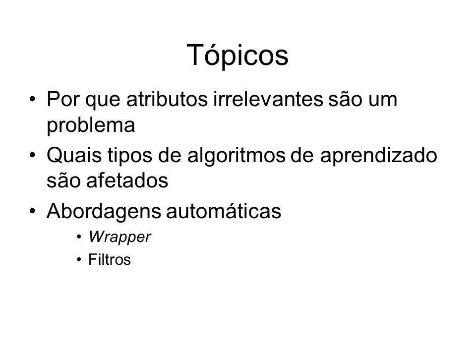 Tópicos Por que atributos irrelevantes são um problema Quais tipos de algoritmos de aprendizado são afetados Abordagens automáticas Wrapper Filtros