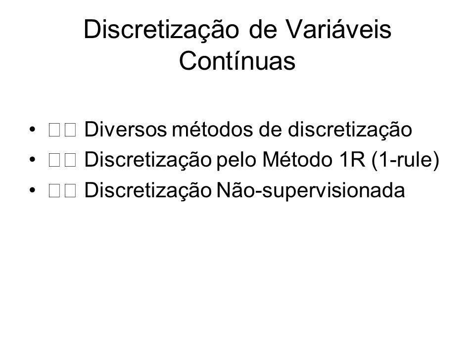 Discretização de Variáveis Contínuas Diversos métodos de discretização Discretização pelo Método 1R (1-rule) Discretização Não-supervisionada