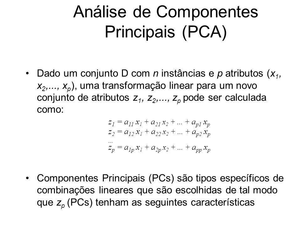 Análise de Componentes Principais (PCA) Dado um conjunto D com n instâncias e p atributos (x 1, x 2,..., x p ), uma transformação linear para um novo