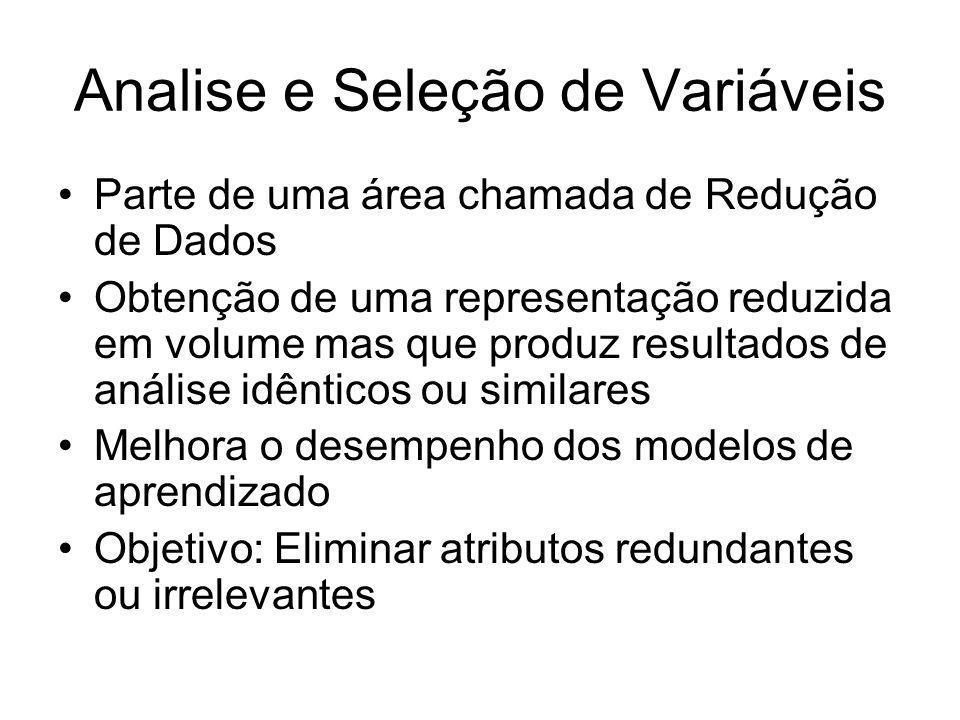 Analise e Seleção de Variáveis Parte de uma área chamada de Redução de Dados Obtenção de uma representação reduzida em volume mas que produz resultado