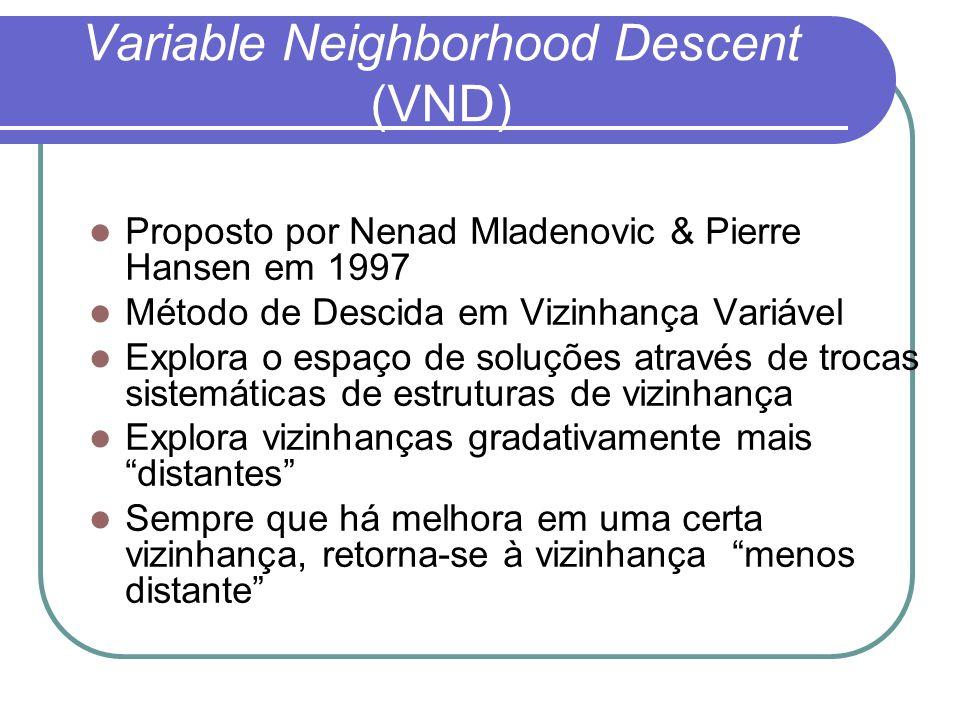 Variable Neighborhood Descent (VND) Proposto por Nenad Mladenovic & Pierre Hansen em 1997 Método de Descida em Vizinhança Variável Explora o espaço de