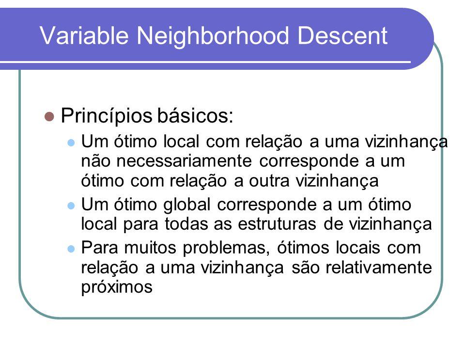 Variable Neighborhood Descent Princípios básicos: Um ótimo local com relação a uma vizinhança não necessariamente corresponde a um ótimo com relação a