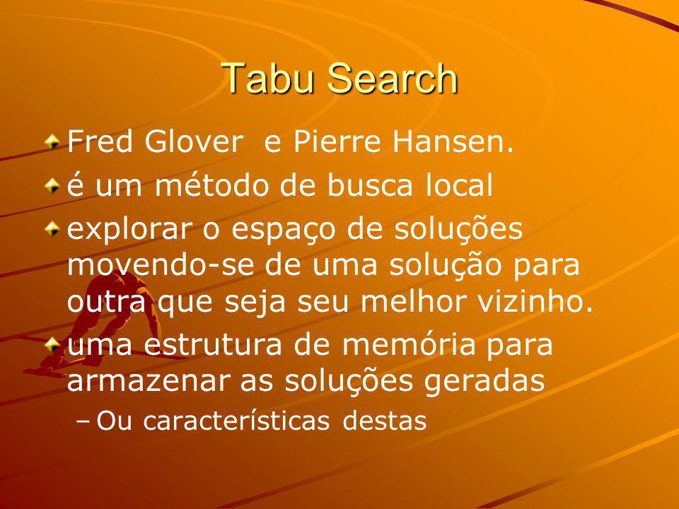 Tabu Search Fred Glover e Pierre Hansen. é um método de busca local explorar o espaço de soluções movendo-se de uma solução para outra que seja seu me