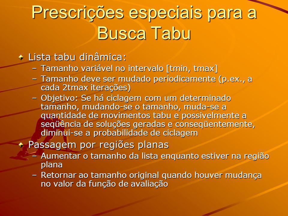 Prescrições especiais para a Busca Tabu Lista tabu dinâmica: –Tamanho variável no intervalo [tmin, tmax] –Tamanho deve ser mudado periodicamente (p.ex
