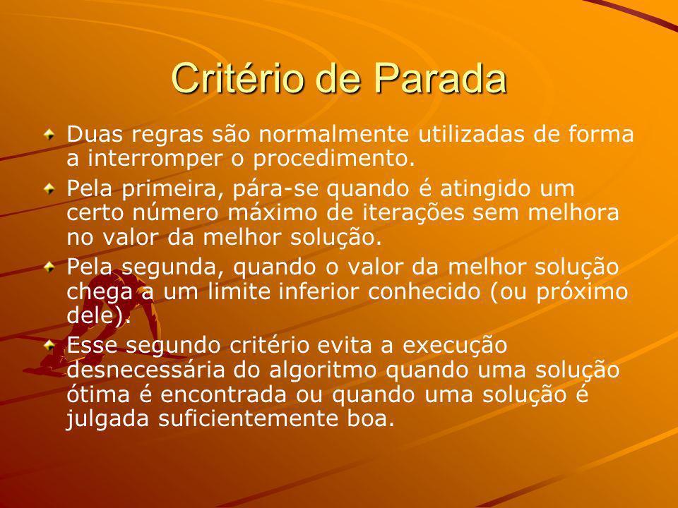 Critério de Parada Duas regras são normalmente utilizadas de forma a interromper o procedimento. Pela primeira, pára-se quando é atingido um certo núm