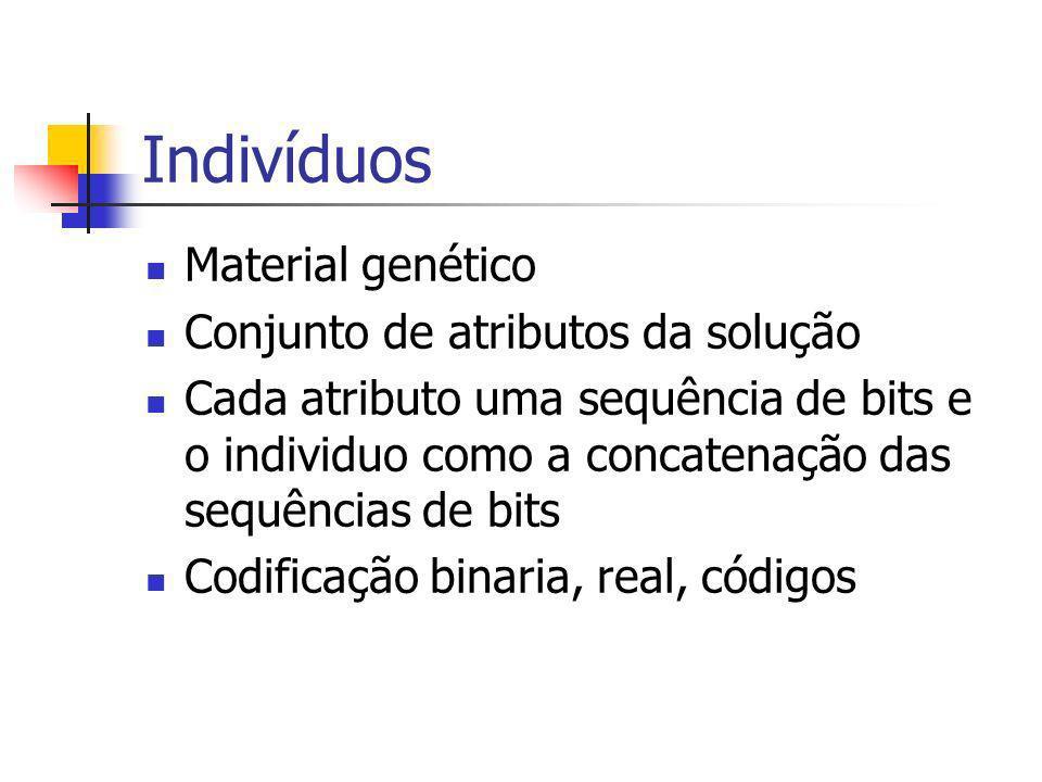Indivíduos Material genético Conjunto de atributos da solução Cada atributo uma sequência de bits e o individuo como a concatenação das sequências de