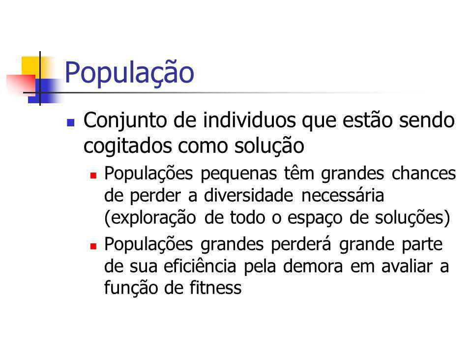 População Conjunto de individuos que estão sendo cogitados como solução Populações pequenas têm grandes chances de perder a diversidade necessária (ex