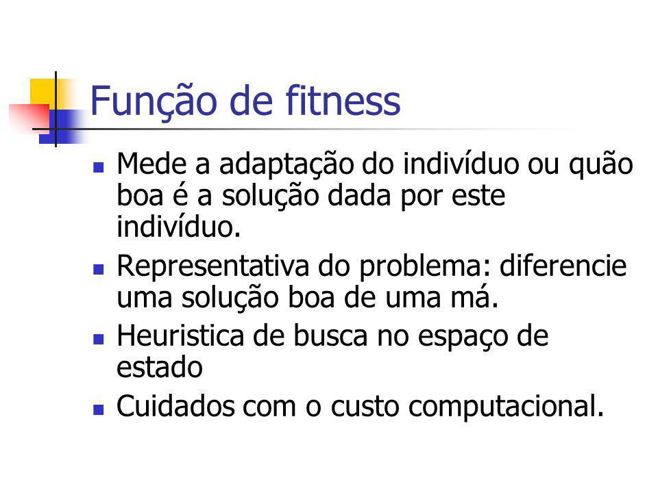 Função de fitness Mede a adaptação do indivíduo ou quão boa é a solução dada por este indivíduo. Representativa do problema: diferencie uma solução bo