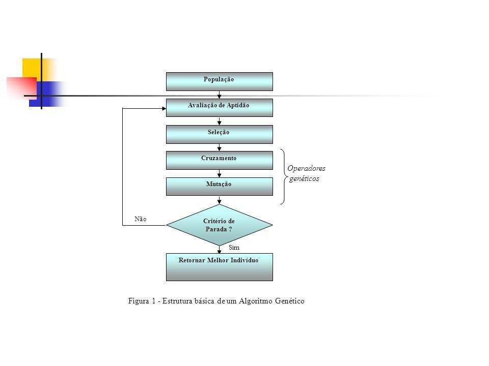Figura 1 - Estrutura básica de um Algoritmo Genético População Avaliação de Aptidão Seleção Cruzamento Mutação Operadores genéticos Critério de Parada