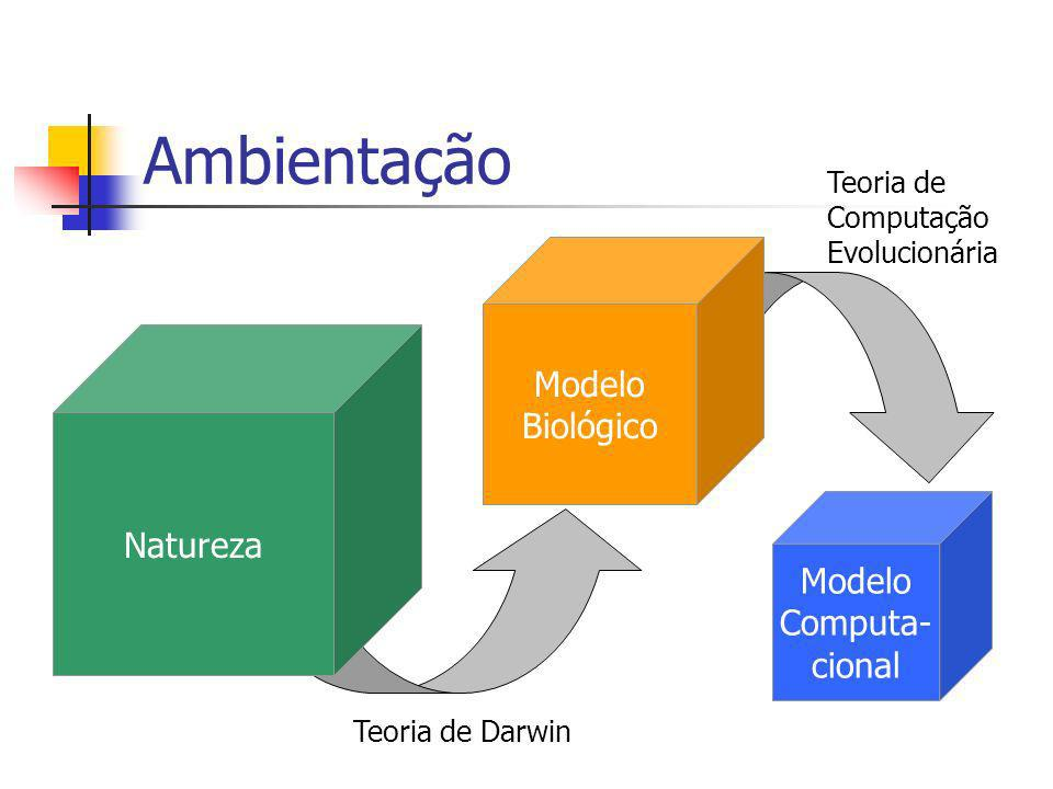 Ambientação Modelo Computa- cional Natureza Modelo Biológico Teoria de Darwin Teoria de Computação Evolucionária