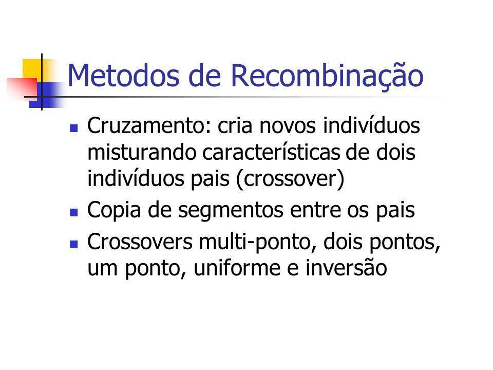 Metodos de Recombinação Cruzamento: cria novos indivíduos misturando características de dois indivíduos pais (crossover) Copia de segmentos entre os pais Crossovers multi-ponto, dois pontos, um ponto, uniforme e inversão
