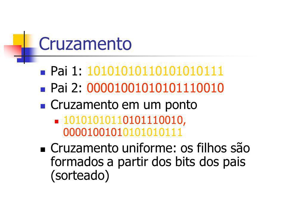 Cruzamento Pai 1: 10101010110101010111 Pai 2: 00001001010101110010 Cruzamento em um ponto 10101010110101110010, 00001001010101010111 Cruzamento uniforme: os filhos são formados a partir dos bits dos pais (sorteado)