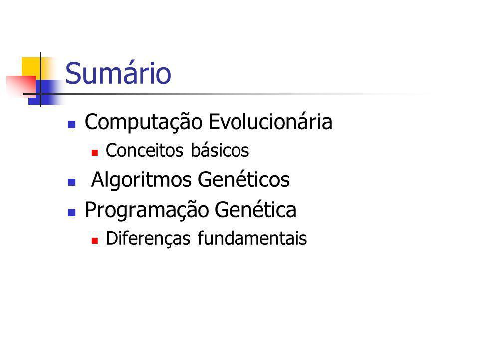 Sumário Computação Evolucionária Conceitos básicos Algoritmos Genéticos Programação Genética Diferenças fundamentais