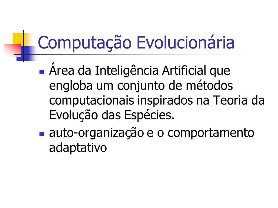 Computação Evolucionária Área da Inteligência Artificial que engloba um conjunto de métodos computacionais inspirados na Teoria da Evolução das Espéci