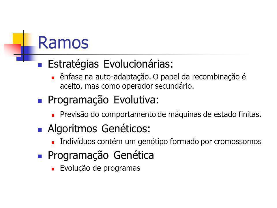 Indivíduos Material genético Conjunto de atributos da solução Cada atributo uma sequência de bits e o individuo como a concatenação das sequências de bits Codificação binaria, real, códigos
