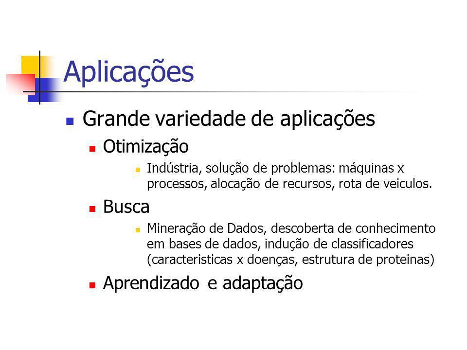 Aplicações Grande variedade de aplicações Otimização Indústria, solução de problemas: máquinas x processos, alocação de recursos, rota de veiculos.