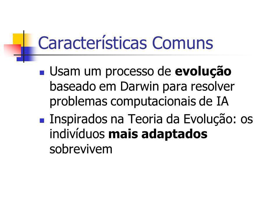 Características Comuns Usam um processo de evolução baseado em Darwin para resolver problemas computacionais de IA Inspirados na Teoria da Evolução: os indivíduos mais adaptados sobrevivem