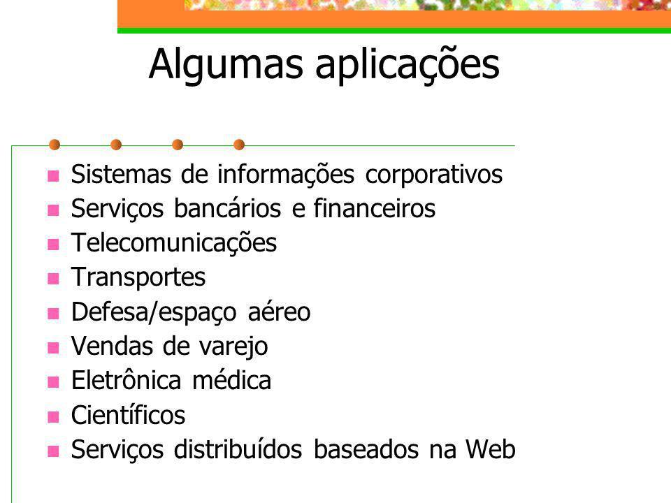 Algumas aplicações Sistemas de informações corporativos Serviços bancários e financeiros Telecomunicações Transportes Defesa/espaço aéreo Vendas de va