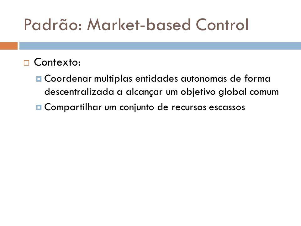Padrão: Market-based Control Contexto: Coordenar multiplas entidades autonomas de forma descentralizada a alcançar um objetivo global comum Compartilhar um conjunto de recursos escassos