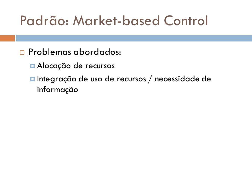 Padrão: Market-based Control Problemas abordados: Alocação de recursos Integração de uso de recursos / necessidade de informação