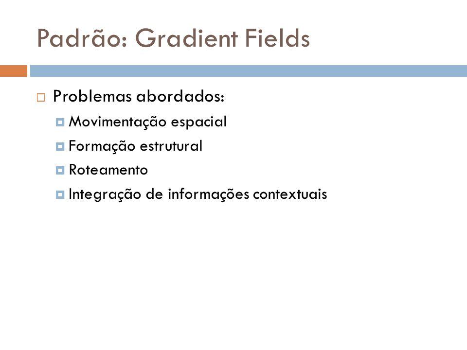 Padrão: Gradient Fields Solução: Informações espaciais, contextuais e de coordenação são propagadas pelo ambiente como campos computacionais Agentes seguem o gradiente dos campos para alcançar a tarefa de coordenação Sem exploração explícita