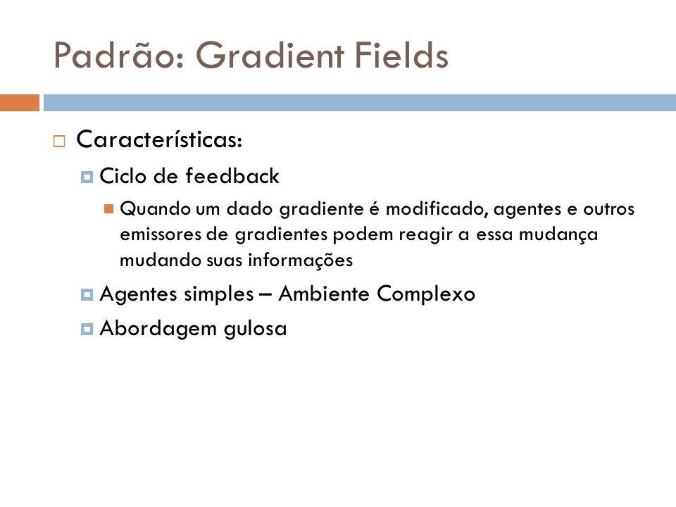 Padrão: Gradient Fields Características: Ciclo de feedback Quando um dado gradiente é modificado, agentes e outros emissores de gradientes podem reagi