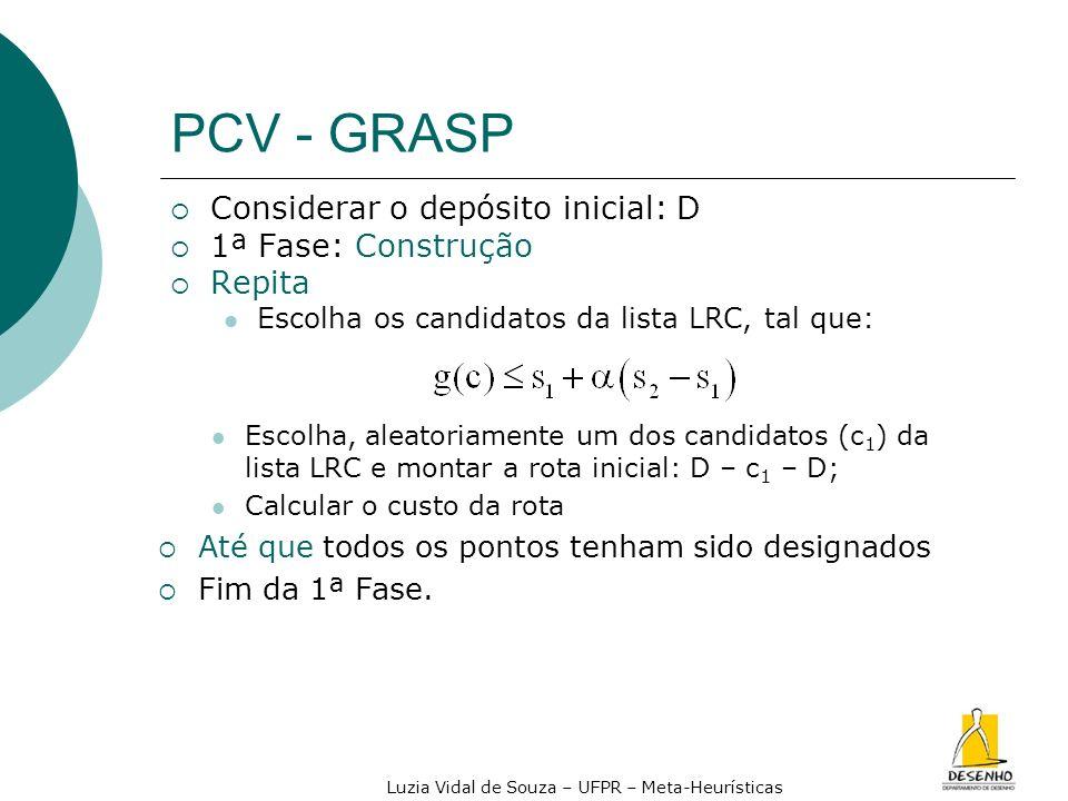 Luzia Vidal de Souza – UFPR – Meta-Heurísticas PCV - GRASP Considerar o depósito inicial: D 1ª Fase: Construção Repita Escolha os candidatos da lista