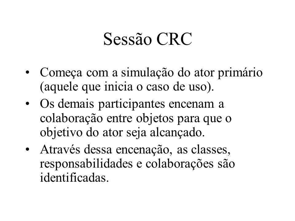 Sessão CRC Começa com a simulação do ator primário (aquele que inicia o caso de uso). Os demais participantes encenam a colaboração entre objetos para