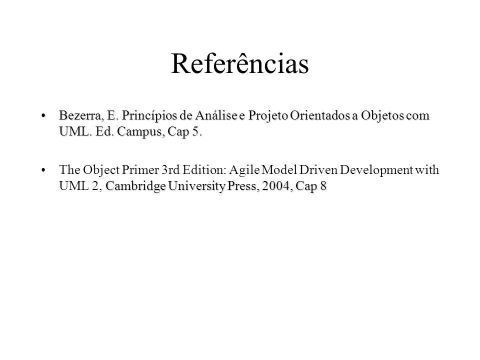 Referências Bezerra, E. Princípios de Análise e Projeto Orientados a Objetos com UML. Ed. Campus, Cap 5.Bezerra, E. Princípios de Análise e Projeto Or